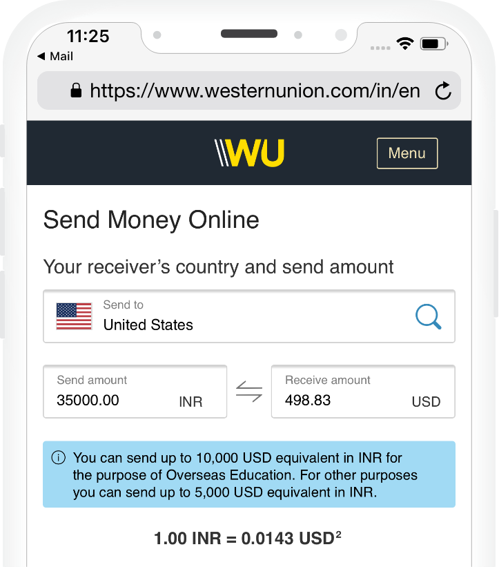 wire transfer from india to usa western union