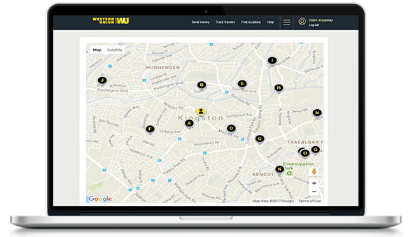 Find the nearest Western Union agent location in Jamaica
