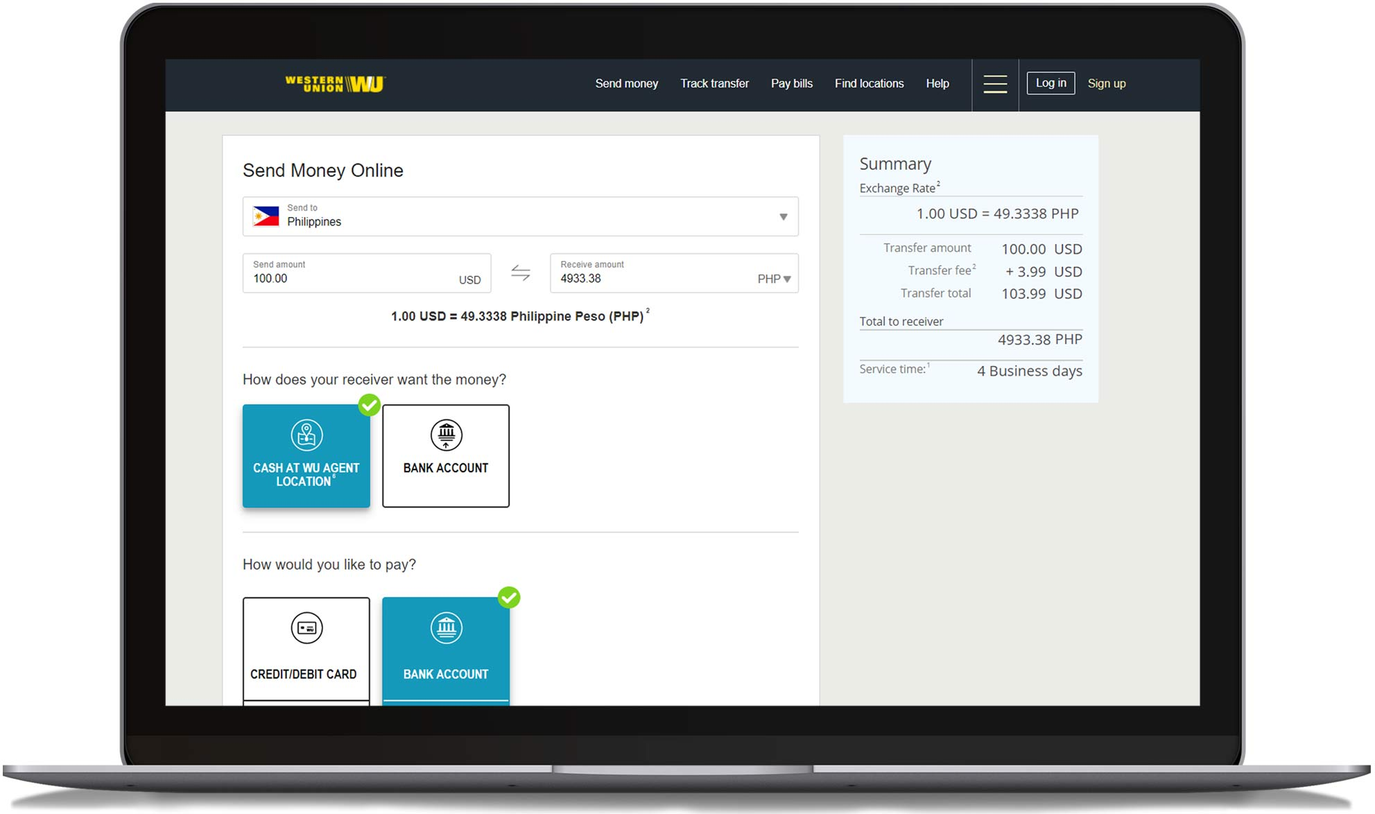 Send money online to the Philippines with Western Union